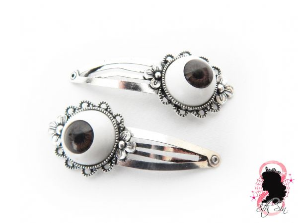 Antique Silver and Brown Eyeball Hair Clips